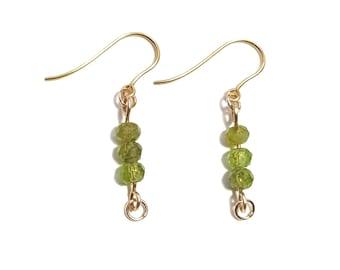 Peridot and 9ct Gold Handmade Earrings