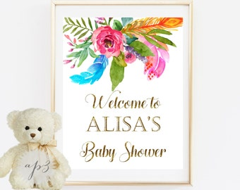 Welcome To Baby Shower Sign Printable, Gold Baby Shower Sign, Flowers&Feathers Baby Shower Printable Sign, Rustic Welcome To Baby Shower