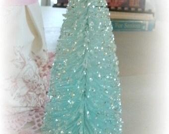 """8"""" LIGHT AQUA sparkly bottle brush tree shabby vintage style decoration"""