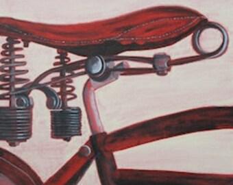 "Bike Seat Portrait No. 4 - Original Acrylic Painting (12"" x 12"") - BikeLoversAlley, by Mattie O."