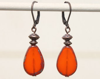 Orange Earrings Copper Earrings Dangle drop Earrings Jewelry Czech Glass Earrings Boho Chic Jewelry Christmas Gift for her Gift for women
