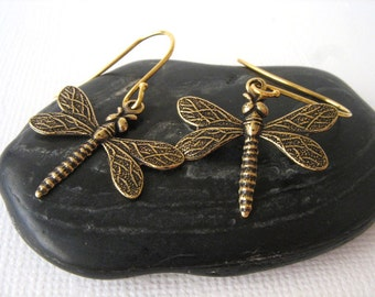 Gold Dragonfly Earrings - Dragonfly Jewelry, 14K Gold Earrings, Insect Jewelry, Bohemian Jewelry, Hippie Jewelry, Dragonfly Gifts, Twee