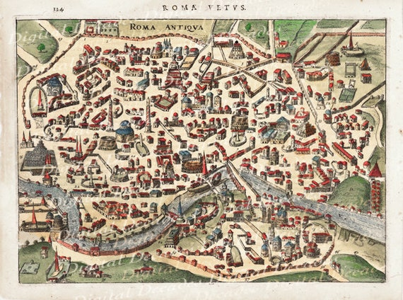 Ancient Rome Roma Roman Italy Italian City Map Digital Image