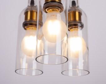 Wine bottle chandelier - hanging chandelier - pendant light - three wine bottles