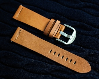 TheWatchStrategy 22mm Brown Leather Watch Strap