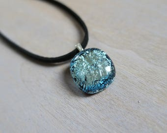 Ice dichroic glass necklace