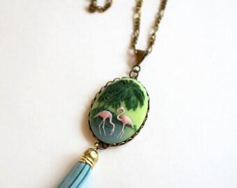Pink Flamingo Necklace, Flamingo Cameo Tassel Necklace, Tropical Necklace Cruise Jewelry, Pink Flamingo Lover Gift, Cameo Necklace, SRAJD