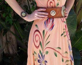 Vintage boho gauze dress handpainted