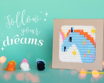 Easter kids gift idea, Craft Kit,  Hand Embroidery, Unicorn, DIY Kit, Framing Embroidery Kit, Girls Birthday Gift, Wall Art, Unicorn, Israel