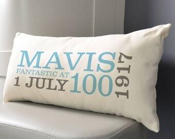 Personalised 100th Birthday Rectangular Cushion