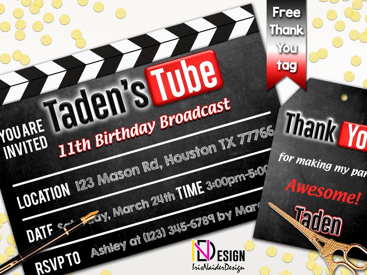 Youtube invitation youtube birthday invitation youtube theme zoom stopboris Images