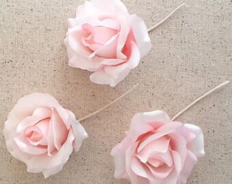 Pink Satin Roses 3 Vintage Millinery Flowers 1940s Germany VAT022-PK