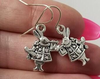 White Rabbit Earrings, Alice in Wonderland Earrings, Alice in Wonderland Jewelry, White Rabbit Jewelry