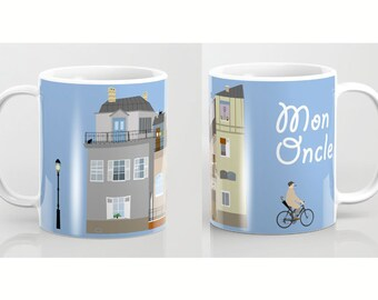 Jacques Tati mug-Mon Oncle Mug-Hulot mug-French cinema lover mug-Bicycle mug-Cool Mug-Coffee lover gift-Etsy gift-Colourful mug-Coffee mug