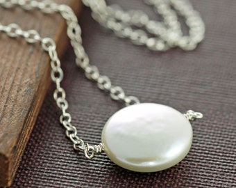 Sterling Silver Pearl Necklace, June Birthstone Necklace, Delicate Bridal Jewelry