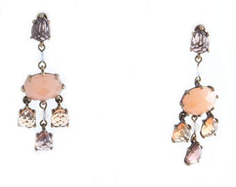 Avon Pink and Brown Rhinestone Earclips