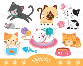 Lovely cat clipart - cute cat clipart - cat lover clipart