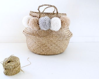 Basket Thai 45cm tassel ecru, beige nude and grey Pearl