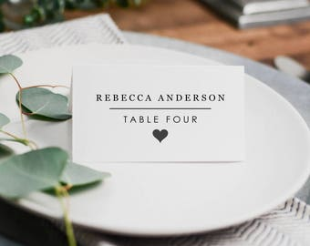 Minimalist Wedding Place Cards, Table Setting Printable Template, DIY Wedding, Seating Cards Instant Download PDF Folded Tent Place Card