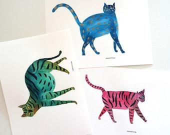 Tri-coloured cats - original watercolour