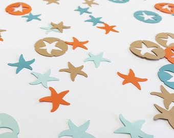 Seashell confetti , Starfish die cuts, Summer table decoration, Summer Wedding, Summer Party Decoration