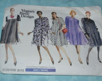 Vogue 2172 Misses Dress Sewing Pattern - UNCUT Size 8 10 12