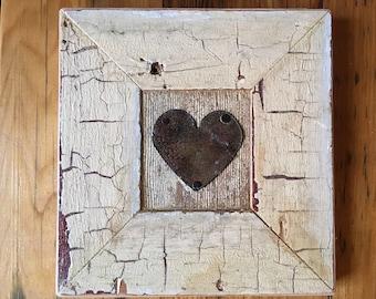 Reclaimed wood mini tin heart frame