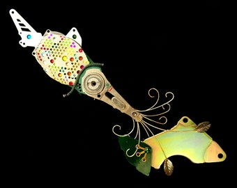 The Shimmering Jewelled Cuttlefish and Fish, Embellished Disk Drive Sea Creatures by Julie Alice Chappell
