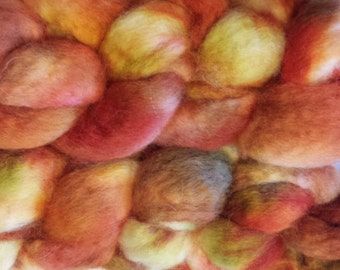 Hand Dyed BFL Roving for spinning or felting 6 oz.