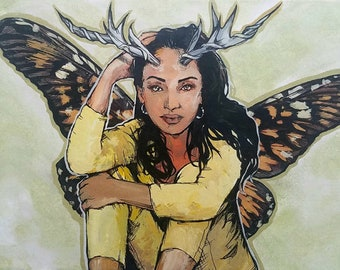 Sade Adu Fairy original giclee print - antlers and butterfly wings