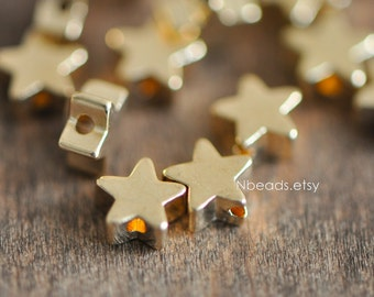 10pcs Gold plated Brass Star Beads 6mm (GB-016)