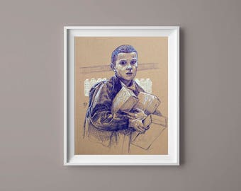 STRANGER THINGS Original Drawing - Eleven - Original Art, Home Decor, Fantasy, Sci Fi, Wall Art, Gift for Him, Gift for Her, Gallery Wall