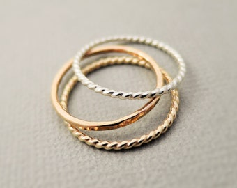 Rose Gold Ring, Gold Ring and Silver Ring 3 thin stackable rings summer jewelry