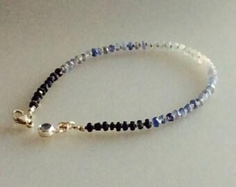 Ombré blue sapphire and sterling silver bracelet, stacking bracelet