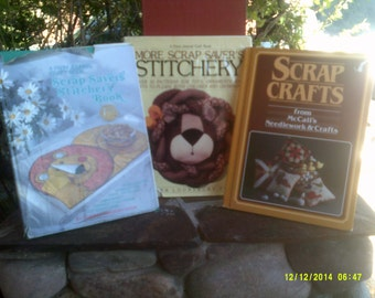 Three Vintage Scrap Stitchery Books, Scrap Crafts, Scrap Savers Stitchery, More Scrap Savers Stitchery, Sewing Craft Books, Scrap Sewing