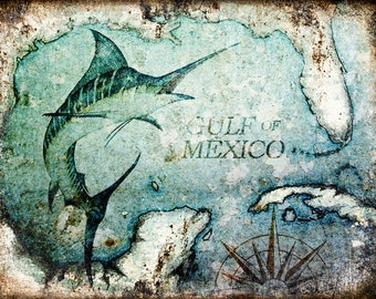 "Gulf of Mexico // Metal Sign // 12"" x 16"""