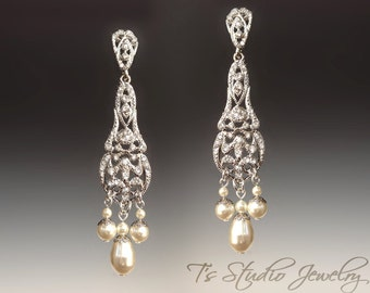 Pearl Bridal Pave Chandelier Earrings - Silver Wedding Earings with White or Ivory Pearls - BIANCA