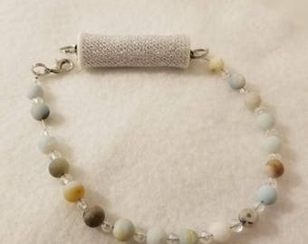 Fitbit Anklet or Bracelet Unpolished Amazonite Beaded  with Austria Crystal Rondelles, Silver Pouch for Various Fitbits