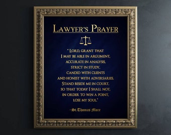 Lawyer Gift - Gifts for Lawyers - Real Gold Foil Print - Lawyer's Prayer by Sir Thomas More - Law Student Gift - Law School Graduation Gift