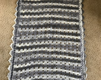 Gray & White Baby Afghan
