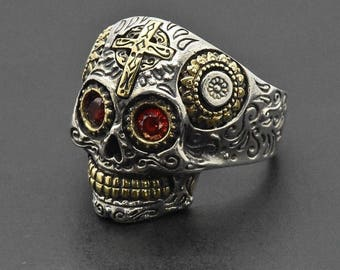925 Sterling Silver Round Red Ruby 14k Yellow Gold Vermeil Gothic Biker memento-Mori Day of the Dead Mexican Sugar Skull HandMade Ring