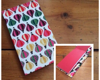 Jotter Notebook with Pencil/handmade/balloon fabric/shopping list pad/memo book/fabric covered/handbound