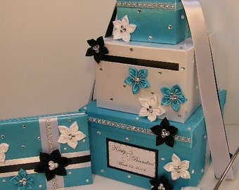 Wedding Card Box,4Sets,3tier Turquoise and White Card Box,Guest book and Pen/Pen Holder .Gift Card Box Money Box Holder-Customize your color
