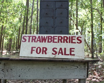 Vintage Hand Painted Advertising Sign, 1940's Strawberries For Sale Sign, Double Sided Fruit Stand Sign, Farmhouse Kitchen