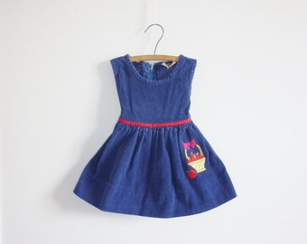 Vintage Navy Corduroy Apple Dress