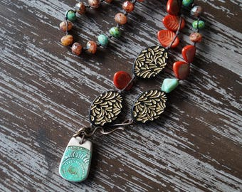 Unlisted - Leaf Necklace - Autumn Boho - Fall Leaf Necklace - Woodland Necklace - Turquoise and Orange - Bead Soup Jewelry