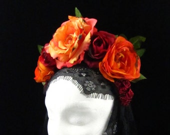 Burnt Orange and Red Rose Headdress with Trailing Black Lace for Day of the Dead/Dia de los Muertos/Costume/Wedding