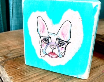 Whimsical Fine art blocks - Pug in Spectacles