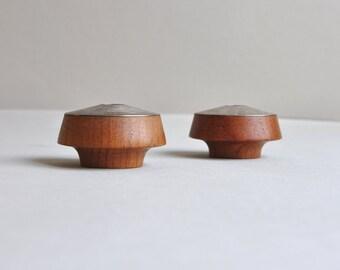 P.J. Ostergaard Teak & Nickel Candle Holders - Made in Denmark
