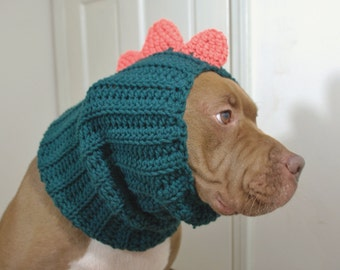 Dinosaur Dog Snood Green and Orange MADE TO ORDER